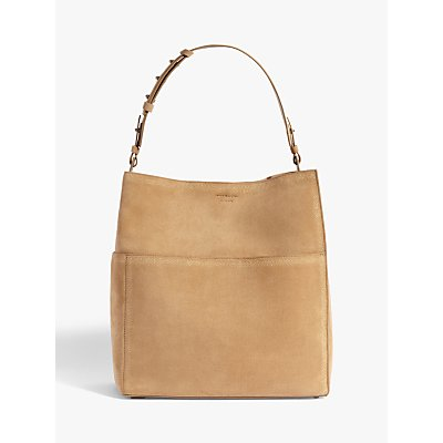 AllSaints Ziggy Leather North South Tote Bag, Cappuccino