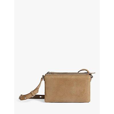 AllSaints Ziggy Suede Cross Body Bag, Cappuccino