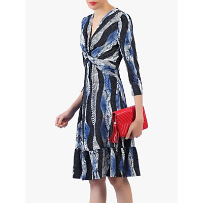 Jolie Moi Twist Front Snake Print Flare Dress, Blue/Multi