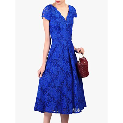 Jolie Moi Cap Sleeve V-Neck Lace Dress, Royal Blue