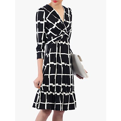 Jolie Moi Twist Front Flare Dress, Black/White