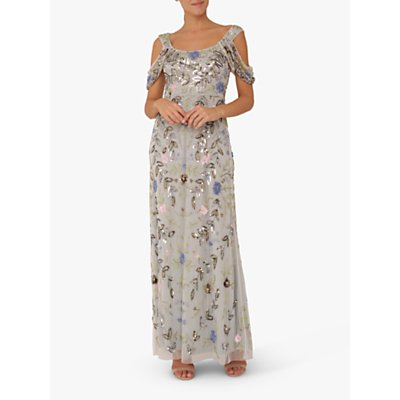 Raishma Cold Shoulder Embellished Gown, Blue