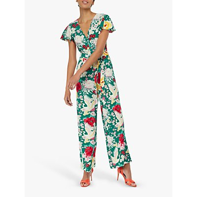 Monsoon Amber Floral Print Jumpsuit, Green Multi