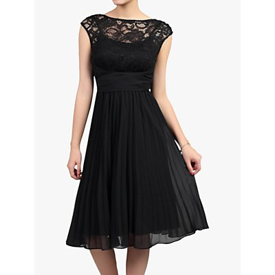 Jolie Moi Lace Bodice Pleated Dress, Black