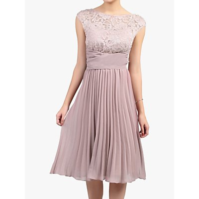 Jolie Moi Lace Bodice Pleated Dress, Mauve