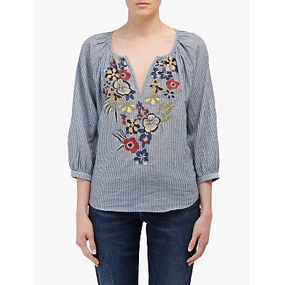 Velvet by Graham & Spencer Melia Embroidered Floral Blouse, Chambray