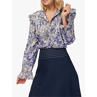 Brora Marble Ruffle Blouse, Violet