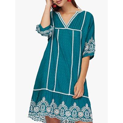 Brora Embroidered Summer Kaftan Dress, Kingfisher