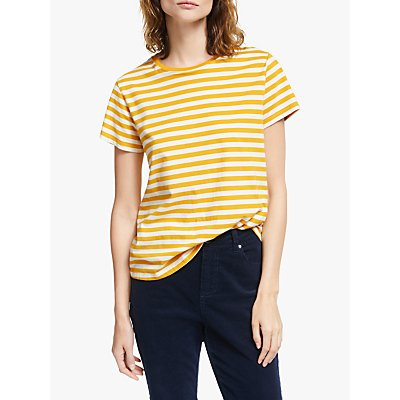 Collection WEEKEND by John Lewis Short Sleeve Stripe Breton Top, Yellow/White