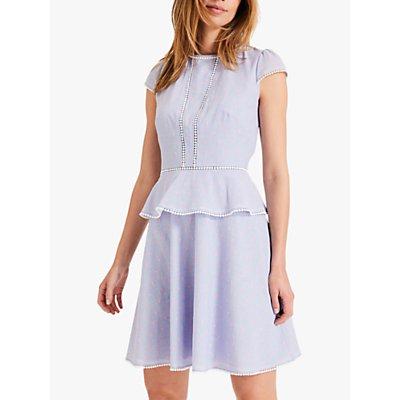 Damsel in a Dress Elmira Peplum Spot Dress, Blue/Pink