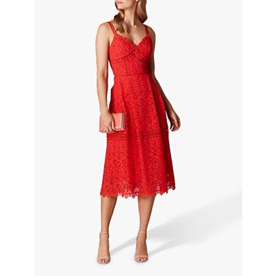 Karen Millen Leopard Pattern Lace Sleeveless Flared Dress, Red