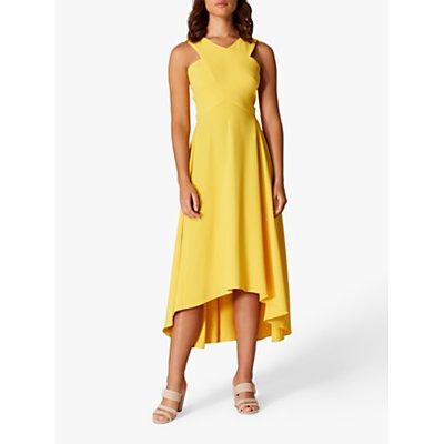 Karen Millen Drop Hem Midi Dress, Yellow
