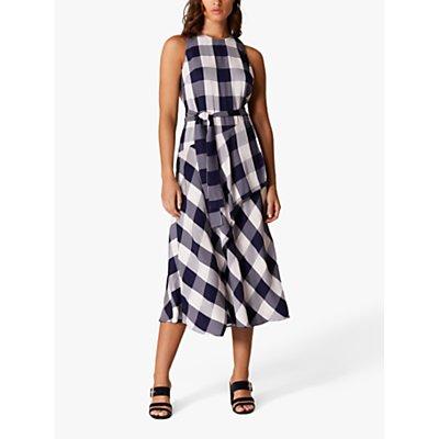 Karen Millen Oversized Gingham Midi Dress, Blue/Multi