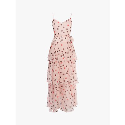Karen Millen Polka Dot Maxi Dress, Pink/Multi