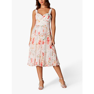 Karen Millen Floral Pleated Dress, Cream/Multi