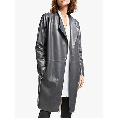 Modern Rarity Wrap Leather Coat, Grey