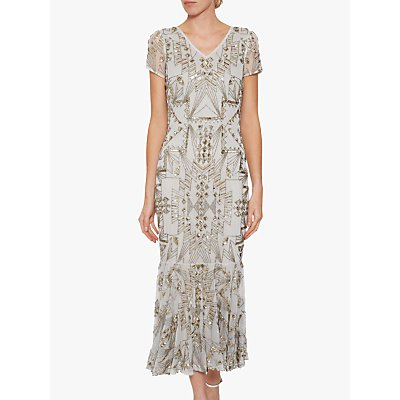 Gina Bacconi Joan Midi Dress, Gold/Silver
