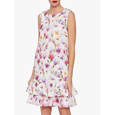 Gina Bacconi Cornelia Floral Dress with Frill Peplum, Pink/Multi