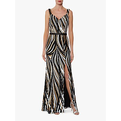Gina Bacconi Daisha Sequin Maxi Dress, Black/Gold