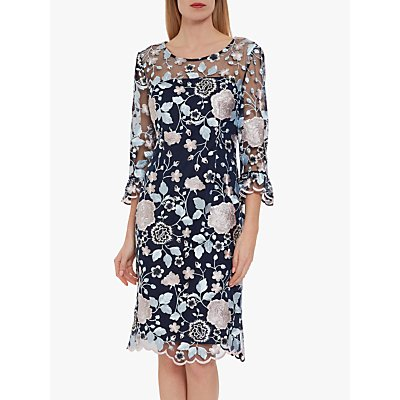Gina Bacconi Embroidered Floral Dress, Blue/Pink