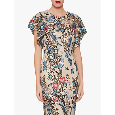Gina Bacconi Annamaria Sequin and Embroidery Dress, Multi