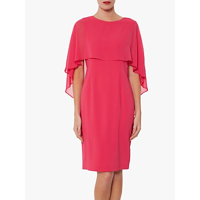 Gina Bacconi Jillian Chiffon Cape Crepe Dress
