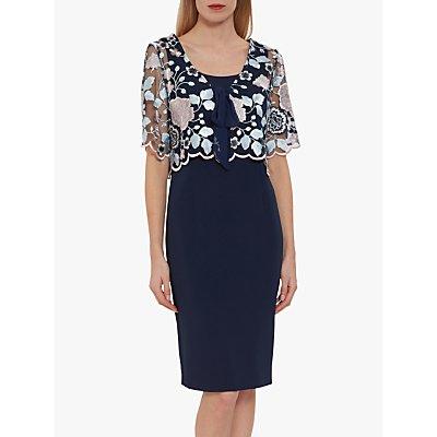 Gina Bacconi Josie Crepe Dress, Blue/Pink