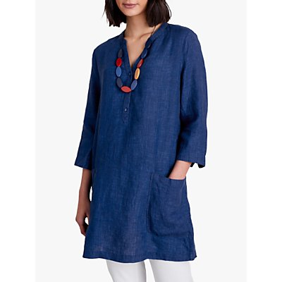 Seasalt May Linen Tunic Top, Indigo Melange