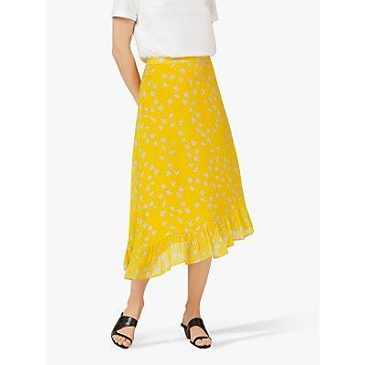 Finery Ebba Floral Frill Hem Skirt, Yellow