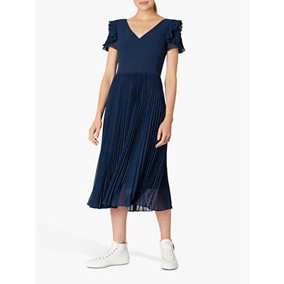 PS Paul Smith Frill Pleated Midi Dress, Navy