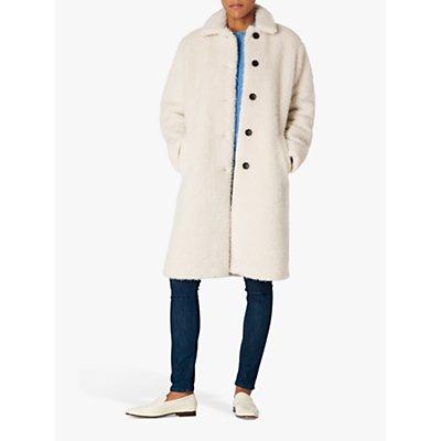 PS Paul Smith Faux Fur Cocoon Coat, Cream