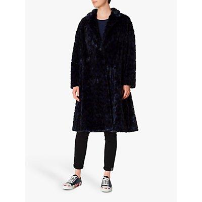 PS Paul Smith Cheetah Faux Fur Coat, Blue