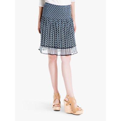Max Studio Pleated Print Skirt, Black/Blue