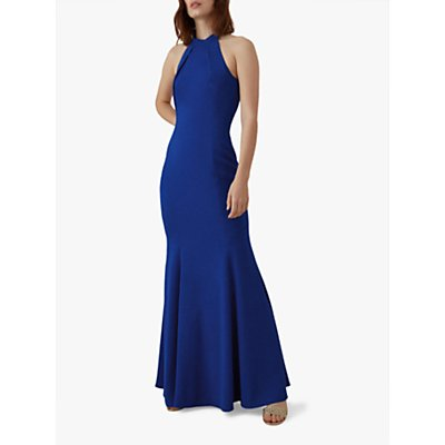 Karen Millen Halterneck Maxi Dress, Blue