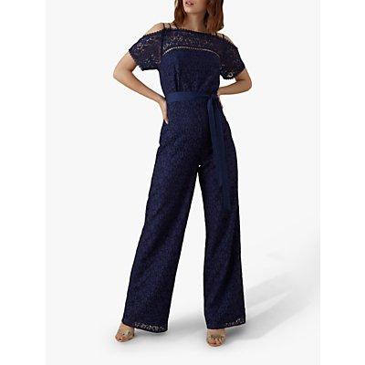 Karen Millen Strappy Lace Jumpsuit, Navy
