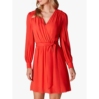 Karen Millen Ruched Wrap Dress, Red