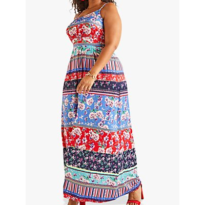 Yumi Curves Patchwork Stripe Jersey Maxi Dress, Multi