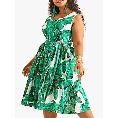 Yumi Curves Tropical Palm Print Dress, Green