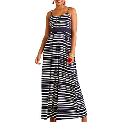 Yumi Nautical Stripe Jersey Maxi Dress, Navy