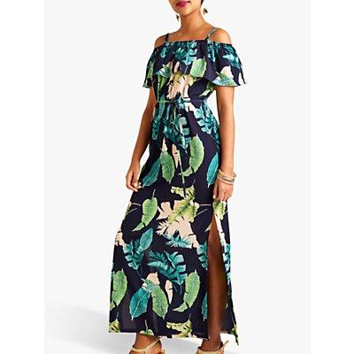 Yumi Palm Print Maxi Dress With Side Splits, Navy/Multi