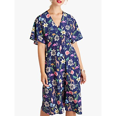 Yumi Tropical Animal Print Kimono Dress, Navy/Multi
