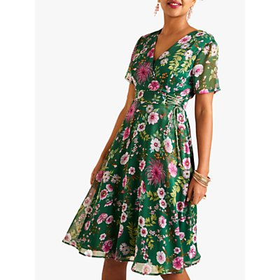 Yumi Floral Tie Waist Tea Dress, Green/Multi
