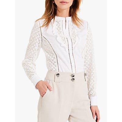 Damsel in a Dress Savi Broderie Shirt, White