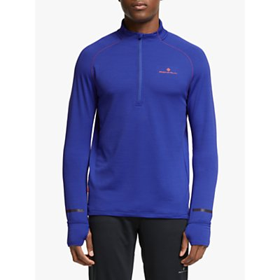 Ronhill Stride Matrix 1/2 Zip Running Top, Deep Sea/Card Orange
