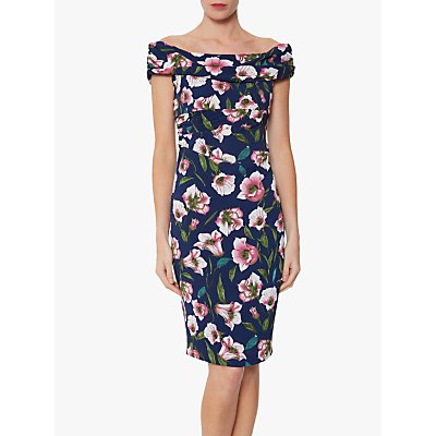 Gina Bacconi Unita Pebble Floral Bardot Dress, Navy/Pink