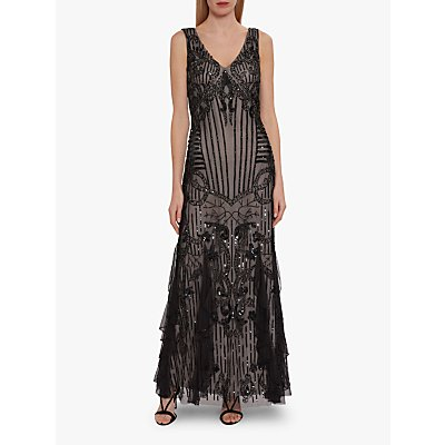 Gina Bacconi Jamila Beaded Maxi Dress, Black