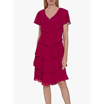 Gina Bacconi Sorina Tiered Dress, Fuchsia