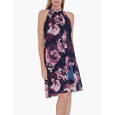 Gina Bacconi Malka Floral Halterneck Dress, Navy/Pink