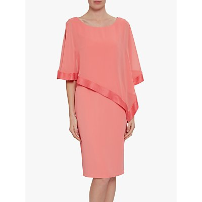 Gina Bacconi Victoria Sequin Trim Cape Dress