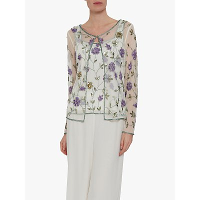 Gina Bacconi Lana Embellished Floral Top, Green/Purple